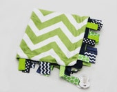 Baby Ribbon Tag Blanket - Minky Binky Blankie - Green Chevron with Navy