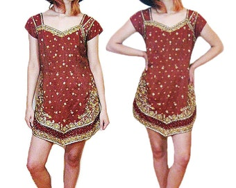 Beaded and embroidered Indian tunic dress 70's S