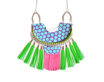 Mint Statement Necklace, Leather Geometric Necklace, Polka Dot Half Circle, Neon Green and Pink Fringe Tassel Necklace, Geometric Jewelry