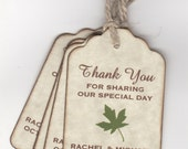 50 Fall Leaf Wedding Favor Thank You Gift Tags, Autumn Leaf Tags, Personalized Custom - Vintage Style