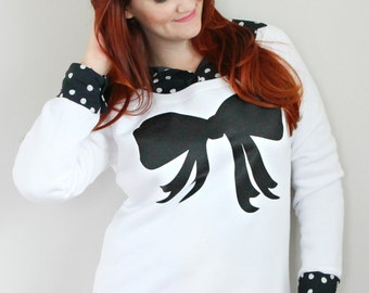 SALE - White Bow / loose fit sweater - fashion - put a bow on it - girly - fall - black and white - pussy bow - preppy - fleece sweater