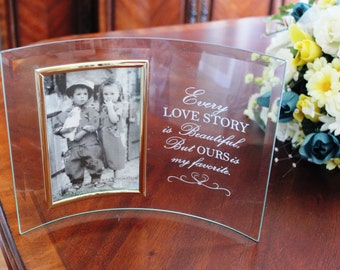 Personalized Engraved Glass Photo Frame, Beveled Glass picture frame, Wedding Gift, Engagement gift, Engraved glass picture frame,