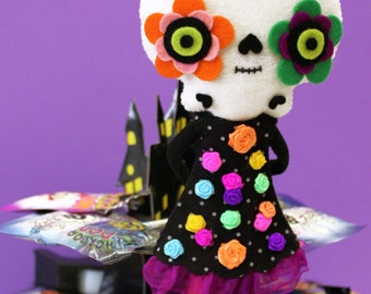 Day of the dead Sugarskull felt handmade doll Halloween Catrina