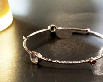 Gemstone Stacking bangles,Fine Jewelry,ruby Topaz Bangle bracelet,Silver bangle bracelet- Bezel Set Bangles,925 Sterling Silver by  TANEESI