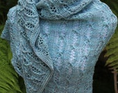 Light Blue Aqua Links Cable and Lace Hand Knitted Pure Merino Wool Triangular Shawl or Shawlette