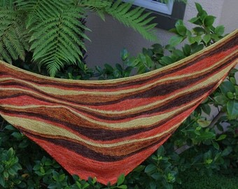 Orange Brown Gold and Terra Cotta Harvest Colored Hand Knitted Pure Merino Wool Triangular Shawl or Shawlette