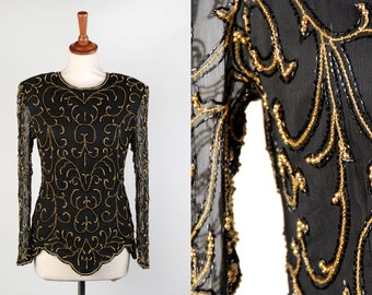 Elegant Beaded Filagree Silk Blouse by Stenay || Black and Gold