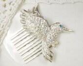 Rhinestone Bird Bridal Hair Comb, Silver Pave Clear Crystal Hummingbird Vintage Hairpiece, Something Blue Old Wedding Headpiece Accessory