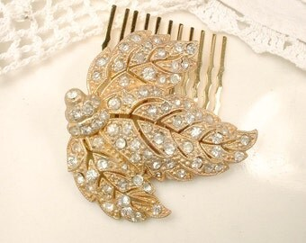 Art Nouveau / Deco Vintage Rhinestone Gold Bridal Hair Comb, Antique Pave Leaf Dress Clip to OOAK Hairpiece Rustic Country Woodland Wedding