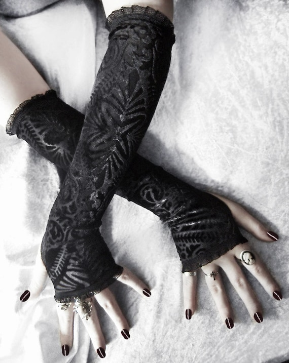 Tribal Tendencies Arm Warmers - Black Burnout Velvet & Lace - Floral Mehndi Motif - Gothic Victorian Bohemian Goth Dark Vampire Belly Dance