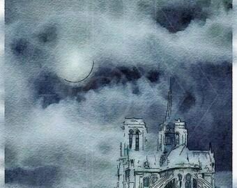 Printable Art, Instant Download Printable Art, DIY, Instant Download, Art Print, Notre Dame Cathedral, Paris, France