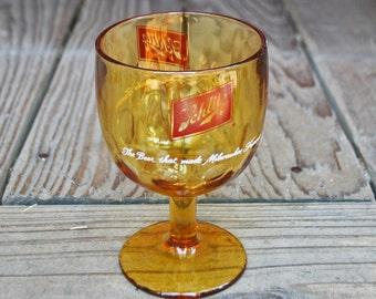 Vintage Amber Glass Schlitz Goblet