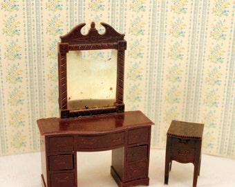 Renwal Dollhouse Plastic Bedroom Dresser Vanity Nightstand Miniature Furniture