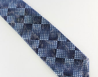 Vintage Modern Blue Silver Floral Pattern Mens Dress Necktie