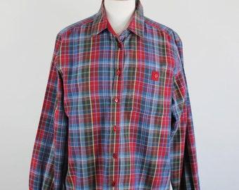 Vintage 80s Womens Burgundy Blue Plaid Reversible Cotton Fall Long Sleeved Shirt