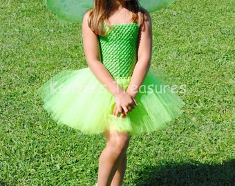 Tinkerbell Tutu Dress Costume - Includes Wings - Size 2T to Girls Size 6