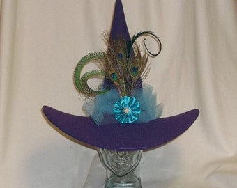 Fancy Purple Peacock Witch Hat- Purple Felt Hat with Peacock Feathers
