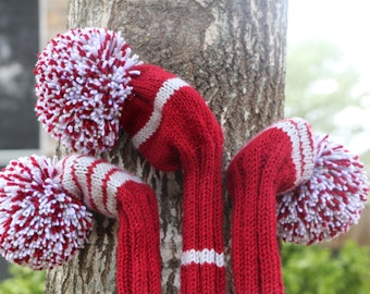 Retro Hand Knit Golf Club Head Covers Set of 3 Burgundy Gray White with Pom Pom