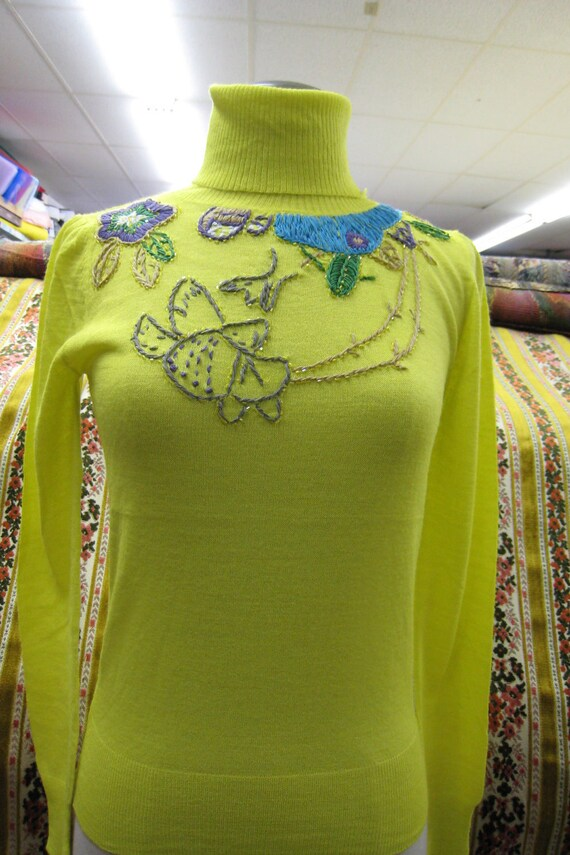 Lemon Yellow color  turtleneck sweater top with sequined emboridry floral and plus made in USA (c51)