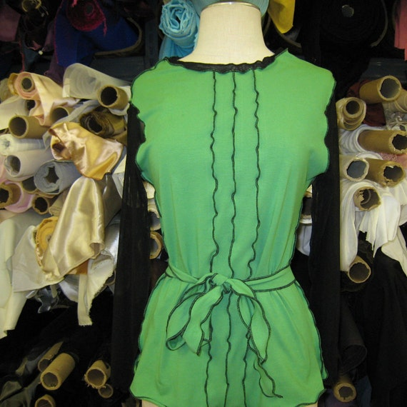 Kiwi green color tunic top with black color mesh long sleeves plus a kiwi green color belt (V159)
