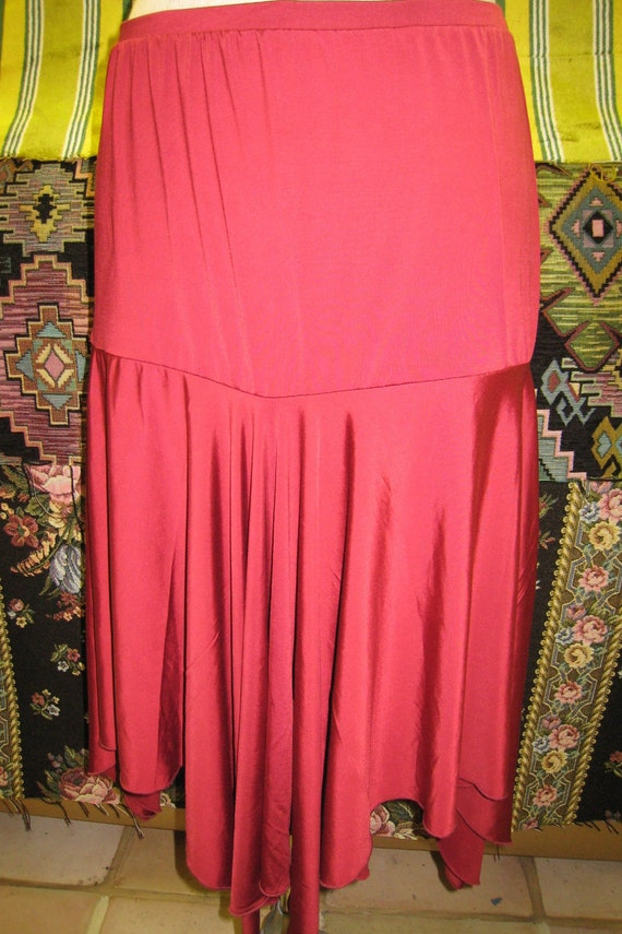 Burgundy color  skirt with asymmetric design plus made in USA (v35)