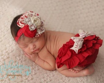 Antiquity- red and ivory vintage inspired holiday headband