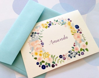 Personalized Stationery, Custom Note Cards, Set of 8