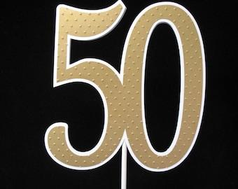 50th Wedding Anniversary Gold Cake Pick / Centerpiece