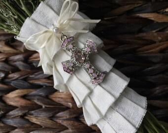 Bouquet Pendant - Jewel Encrusted Cross