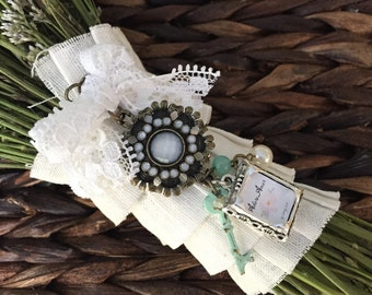 Bouquet Photo Charm with Lace and Key