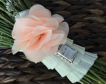 Petite Fabric Flower Pin and Rectangular Bouquet Charm