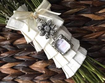 Wedding Bouquet Photo Charm - Jewel Encrusted Flower