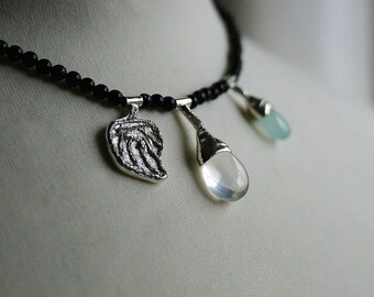 icy quartz drop, aqua chalcedony, dark navy midnight stone and sterling silver botanical necklace - OOAK, ready to ship