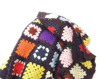 vintage blanket.granny square.wool.afghan.crocheted.quilt.throw.handmade.jewel-tones.bridal.shower.coverlet.warm.fall.winter.tessiemay