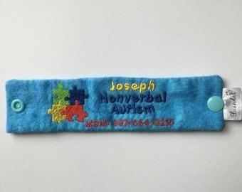 Autism Alert Bracelet, Identification Bracelet, Autism Alert Embroidery,