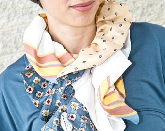 Upcycled Recycled Repurposed Blue Yellow White Stripe Elizabethan Ruffle Necktie Scarf for Women by Lulu Bea