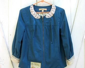 Upcycled jacket, turquoise, boho jacket, US size 6-8 small, tattered with vintage crocheted lace, bohemian clothing, lily whitepad