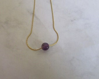 Gold Necklace, Amethyst Gemstone Necklace, Single Purple Bead Necklace, Floating Amethyst Bead Necklace, Long and Layered Bead Necklace