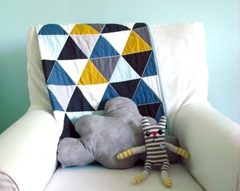 Baby Boy Quilt in Teal and Multi Color Triangles – baby boy gift, baby quilts for boy, baby quilts for sale