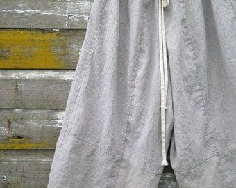 Wide Leg Linen 'Anna' Pants Bloomers Natural Linen Pantaloons Rumpled Sweet Prairie Layering