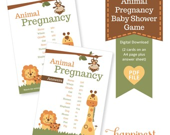 Animal Pregnancy Baby Shower Game   Guess The Gestation Period Of Each  Animal Comes With Answes
