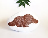 Platypus Shaped Animal Pillow. Hand Woodblock Printed. Choose Your Colors. Made to Order.