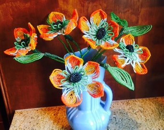 Vintage Handmade Zinnia French Beaded Flower Bouquet 1940s Incredible Hand Work 1940s Fall Colors - Beaded Wedding Bouquet - Brides