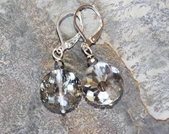 Crystal Earrings, Gray Earrings, Silver Earrings, Faceted Earrings, Sparkly Earrings, Round Earrings, Holiday Earrings, Christmas Earrings