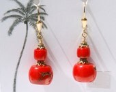 Red Coral 14k Gold Filled and Vermeil earrings for PROSPEROUS ACTION