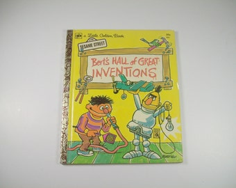 Vintage Little Golden Book Sesame Street Berts Hall of Great Inventions Childrens Story 1972