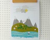 Mountain Vacation Lakeside Print A3
