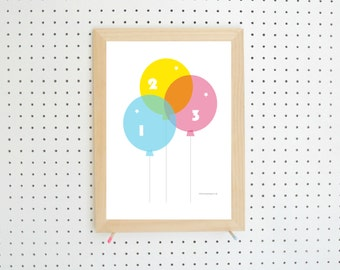 Digital Download Balloons 123 Nursery Printable Art A4
