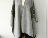 Blanket cape Gray grey poncho Autumn fall fashion Winter wrap Boho chic Native cape Women clothings Modern minimalist Holiday Christmas gift
