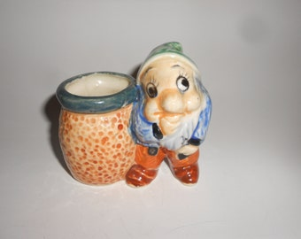 "Dwarf Vase /Toothpick Holder  Vintage Majolica Japanese Art Pottery ""Bashful"" Snow White Cutie"